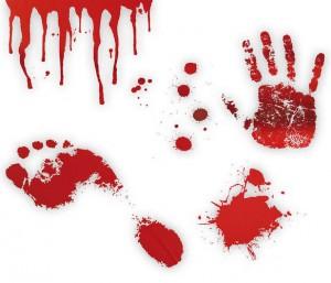 Véres lábnyom, kézlenyomat matrica